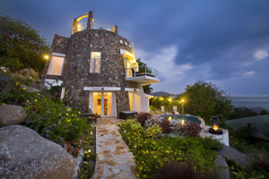 Sugar Mill Villa on Virgin Gorda, at dusk